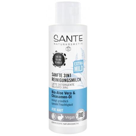Sante Latte detergente delicato 3 in 1 con Bio Aloe Vera + Bio olio di semi di Chia