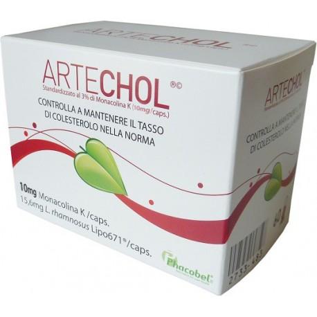 ARTECHOL per il controllo del COLESTEROLO+Lactobacillus rhamnusus no GLUTINE/LATTOSIO